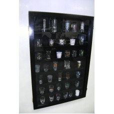 Shot Glass Display Case Black,Cherry, Walnut, or Gold   230950710919
