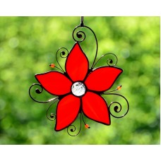 Stained glass suncatcher, windows glass decor, flower suncatcher, garden decor   263747103252