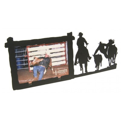Steer Wrestling 3x5 Horizontal Black Metal Picture Frame   180290832515
