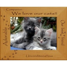 WE LOVE OUR CATS!! ENGRAVED ALDERWOOD CAT PHOTO FRAME in four sizes #0149_1   282778695106