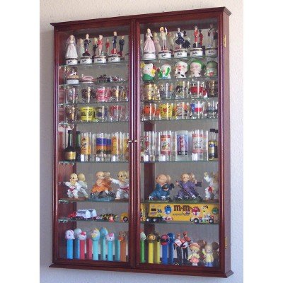 XL Shot Shooter Glass Display Case Cabinet Rack Wall Holder Glasses Mirror Back   232354684217