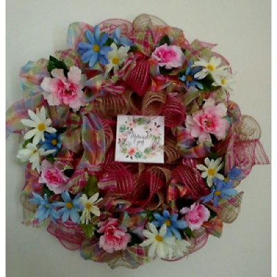 EVERYDAY  BURLAP  RIBBON WREATH  - Free Shipping   163192878883