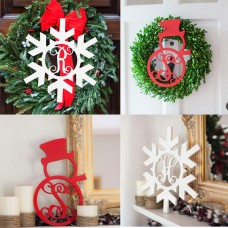 "18"" PERSONALIZED MONOGRAM INITIAL WOODEN SNOWMAN or SNOWFLAKE DOOR HANGING   232482741477"