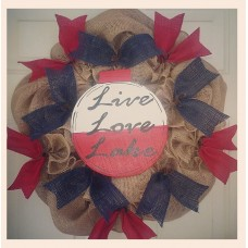 22 INCH LIVE LAUGH LAKE HANDMADE  PRIMITIVE  BURLAP WREATH Navy Red Boat FISHING   223103595646