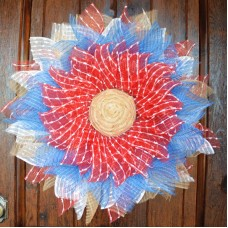 4th of July American Red White & Blue Deco Mesh Flower Door Wreath Wall Hanging   192522270098