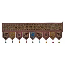 "56"" Indian Mirror Door Hanging Embroidered Cotton Window Valance Brown Tapestry 8907033230331  263398648259"