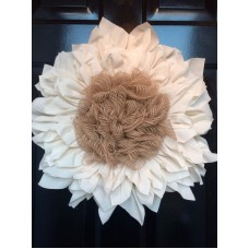 Creme Muslin Wreath Flower Door Wreath Maroon Fabric Burlap Medium-18 inches   142876245214