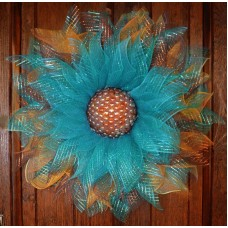 Deco Mesh Large Flower Door Wreath Wall Hanging Spring Summer Floral Decor   192528984244