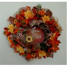 FALL AUTUMN HARVEST  DECO MESH BURLAP  WREATH  - Free Shipping   163155192095