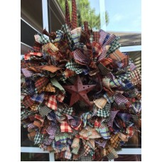 "HANDMADE 14"" PLAID 4 LAYER RAG WREATH WITH METAL STAR- COUNTRY RUSTIC PRIMITIVE   173427197881"