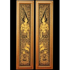 Home Decor Lacquer Black Gilted Thai Art 2 DVARAPALA Handmade God of door Guard    231544923578