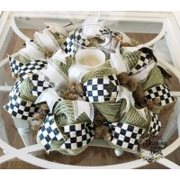 MACKENZIE-CHILDS Courtly Check RIBBON Burlap Deco Mesh CENTERPIECE or Wreath   173392567346