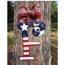 Monogram 4th of July wreath,Initial door hanger,ANY LETTER,4th of July decor   122477984152