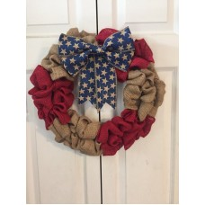 "Patriotic Burlap Wreath Door Decor 16"" with star bow Forth of July Summer   232837479227"