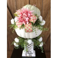 Shabby Chic Fall Floral Pumpkin Centerpiece w/Mackenzie-Childs Check Ribbon   173413233689