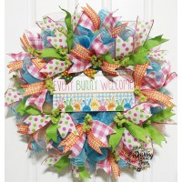 Spring EVERY BUNNY WELCOME Front Door Ruffle Deco Mesh Wreath   183097554914