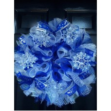 Winter Wreath Deco Mesh Door Wreath Snowflake Blue White and Silver   142901999852