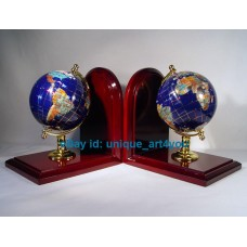 "7"" Tall pair of Blue Lapis Ocean wood base Gemstone Globe Bookend   352294487773"