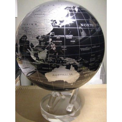 "8.5"" Mova Globe Black and Silver SBE Large Self Rotating Globe 894220000755  183351097650"