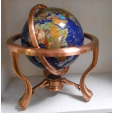 "9"" World Globe GEM GEMSTONE 3 Leg Claw Feet Copper Table Stand NICE   163067648985"