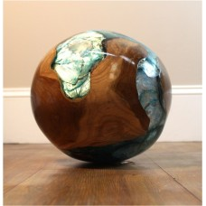 Teak and Blue Resin Plastic 20 lb Round Ball Burl Shell Wood Rare Accent   142579540422