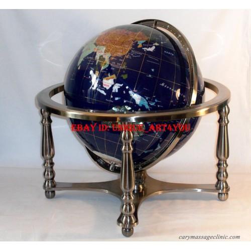 Gemstone World Map.Unique 21 Tall Blue Lapis Ocean Silver Leg Table Gem Gemstone World