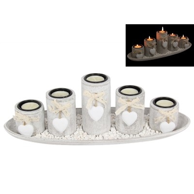 38cm Shabby Chic 5pce Candle Holder Set with Heart Features 9319844561174  322622270440