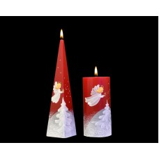 HANDMADE DECORATED CHRISTMAS CANDLE ANGEL SONG CYLINDER PYRAMID BALL RED PILLAR   141875650207