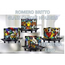 ROMERO BRITTO 4 GLASS CANDLE HOLDERS *1 PER ORDER*    112034649894