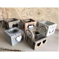 Vintage Style Tea Light Candle Holder Wooden Shabby Hearts Wedding Decorations   122579862354