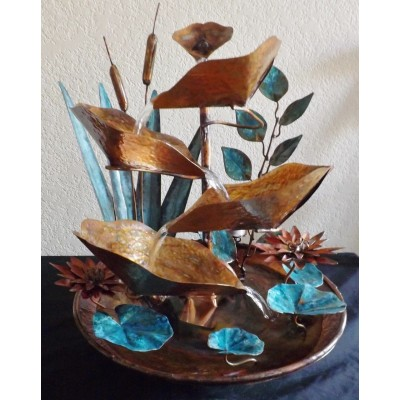 Red Lotus, Cattails, and Leaf Vine, Medium Size Copper Table Fountain   183366189717