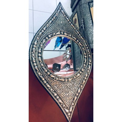 Moroccan Wall  Mirror 105 X 55 cm  Large Eye Shape  handmade Carved Metal   273376327534
