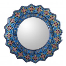 Glass Mirror Reverse Painted Blue Floral 'Bluebells' NOVICA Peru    382176497527