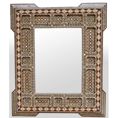 Handcrafted Moroccan Egyptian Mother of Pearl Inlay Wood Wall Mirror Frame #04    401542701550