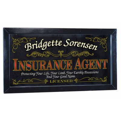 Insurance Agent Personalized Bar Occupational Business Mirror Sign Pub Office   253807751457