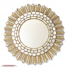 "Large Decorative Round Mirror Wall 31.5""- Peruvian Gold Sunburst Wood Mirrors   123305127544"