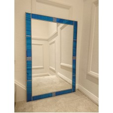 Mackintosh style uk Art Deco stained glass effect mirror Blue 60x90cm 2x3ft   253767939317