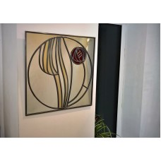 Mackintosh style uk Art Deco stained glass effect mirror square Rose 30x30cm   253767939319