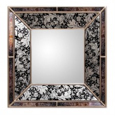 Majestic Silvery Wall Mirror Reverse Hand Painted Black Glass Art NOVICA Peru   382525832501