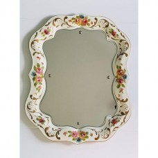 Mid Century Hollywood Regency Hand Painted Tole Tray Floral Motif Mirror   223087825458