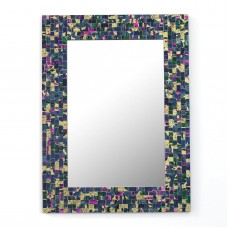 Mosaic Wall Mirror Handmade Navy Blue Rectangle 'Late Night Beauty' NOVICA India   312211041282