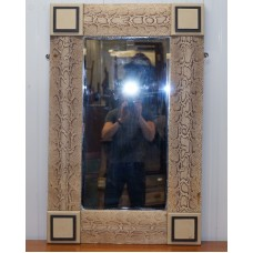 RARE VINTAGE SNAKESKIN MIRROR UPHOLSTERED ON SOLID WOOD ANTIQUE TIMBER FRAME    202394983982