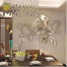 Removable 3D Mirror Flower Art Wall Sticker Acrylic Mural Decal Home Room Decor   311965406734