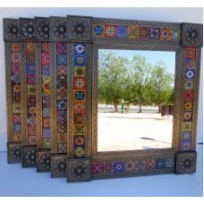"Set of 5 punched TIN MIRRORS with talavera tile mexican wholesale lot 25"" X 29""   273140560728"