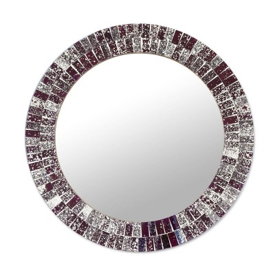 Silver Mosaic Glass Round Wall Mirror 'Fractal Glare' Artisan-made NOVICA India   382541942360