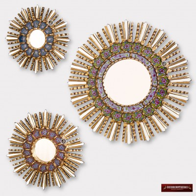 Sunburst Wall Mirrors Set 3 - Peruvian Handpainted glass Wood Round Mirror Wall    123289156193