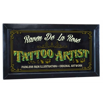 "Tattoo Artist Personalized Bar Occupational Mirror Sign Pub Office 12"" x 26""   263870385421"