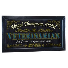 "Veterinarian Personalized Bar Occupational Mirror Sign Pub Office 12"" x 26""   253807819808"