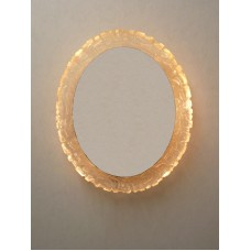Vintage 60/70's large oval wall mirror, backlit, acrylic (resin), illuminated   302694804535