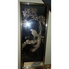 Vintage 82 Large Retro Mirror With Reversed Gold Leaf Bird Of Paradise On Branch   271740478260